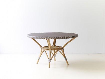 Table repas ronde Danielle-Tressage dominant cappuccino avec blanc
