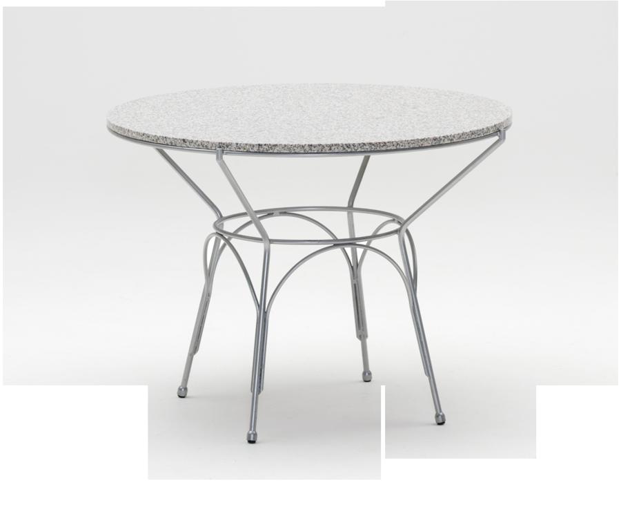 Table ronde uranus diam 100 cm plateau granit gris for Table exterieur granit